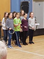 KS2 pupils perform at Belcoo Senior Citizens Party