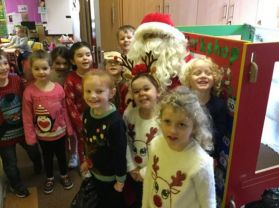 Santa drops by St Columban's